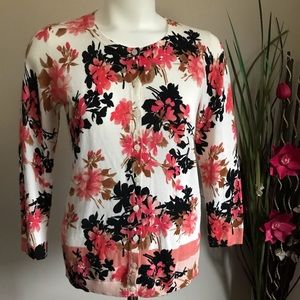 Talbots Women's Flowers Patterned Buttons Sweater